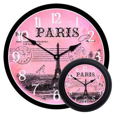 Paris Postcard Pink Clock mix