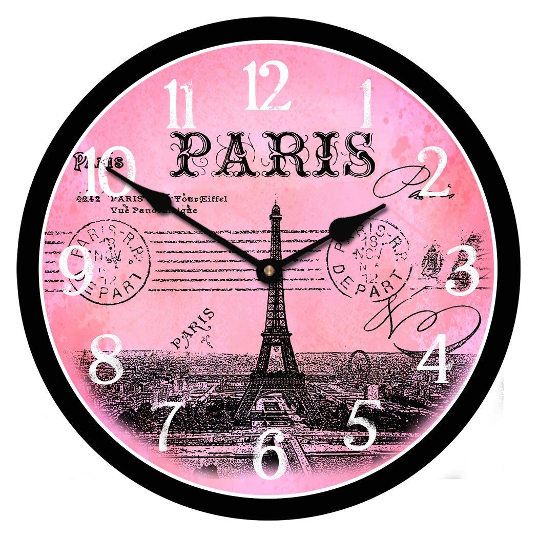 paris postcard pink clock