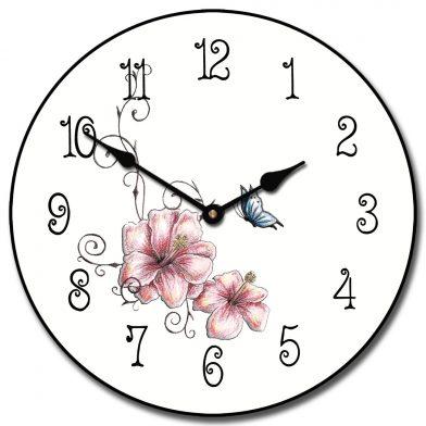 Pink Floral Clock