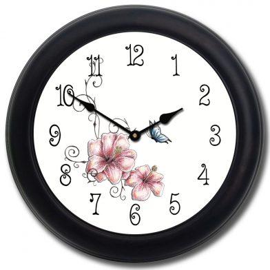 Pink Floral Clock blk frm