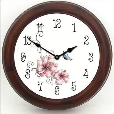 Pink Floral Clock brn frm
