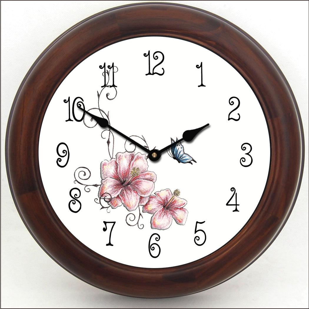 Pink Fl Clock Brn Frm