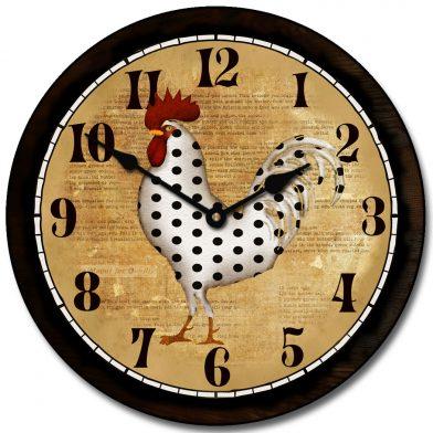 Polka Dot Rooster Clock