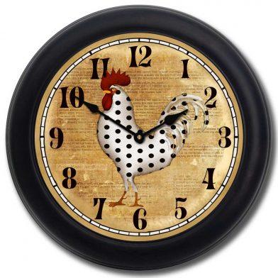 Polka Dot Rooster Clock blk frm