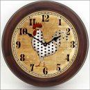 Polka Dot Rooster Clock brn frm