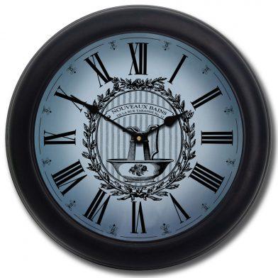 Powder Room Blue Clock blk frm