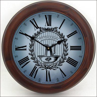 Powder Room Blue Clock brn frm