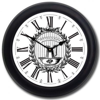 Powder Room White Clock blk frm