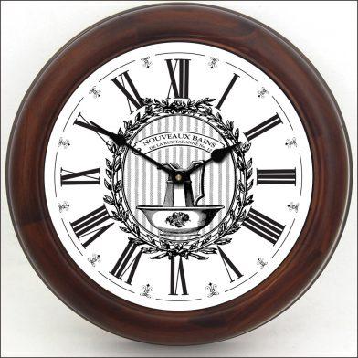 Powder Room White Clock brn frm