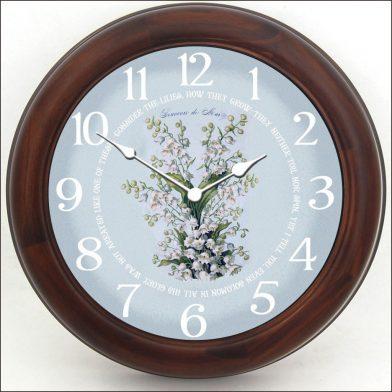 White Flowers Clock brn frm