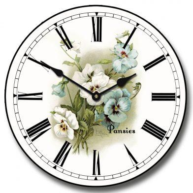 White Pansies Clock