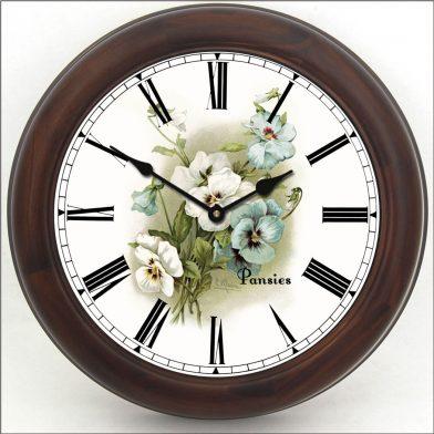 White Pansies Clock brn frm