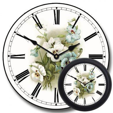 White Pansies Clock mix