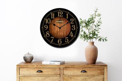 black and wood clock room