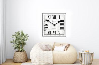 classic white square clock in room