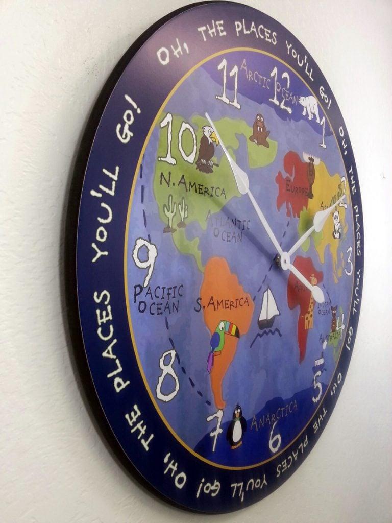 Side of Kids world map clock