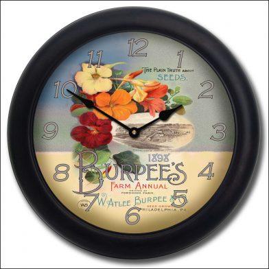 Garden Seeds Clock blk frm