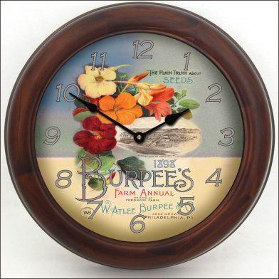Garden Seeds Clock brn frm