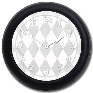 Harlequin Gray Clock blk frm