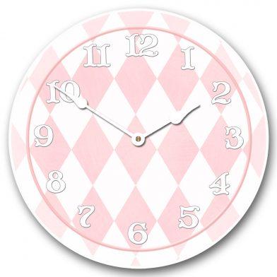 Harlequin Pink Clock