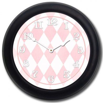 Harlequin Pink Clock blk frm
