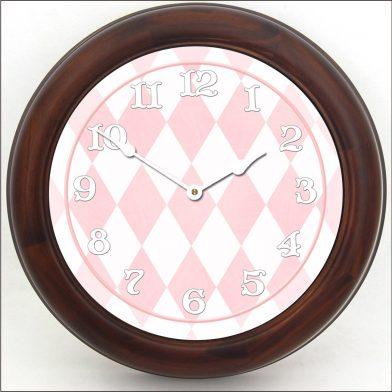 Harlequin Pink Clock brn frm