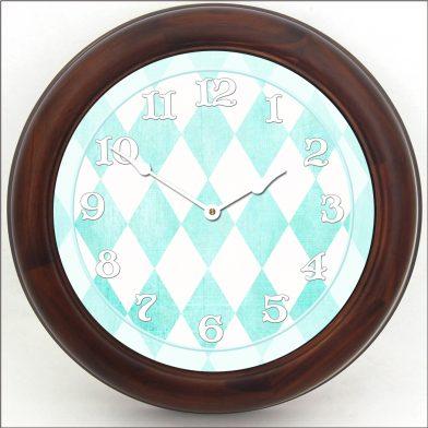 Harlequin Turquoise Clock brn frm