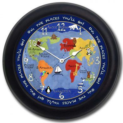 Kids World Map Clock blk frm