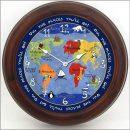 Kids World Map Clock brn frm