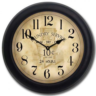 Vintage Laundry Room Clock blk frm