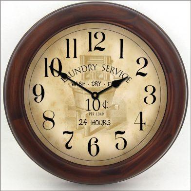 Vintage Laundry Room Clock brn frm