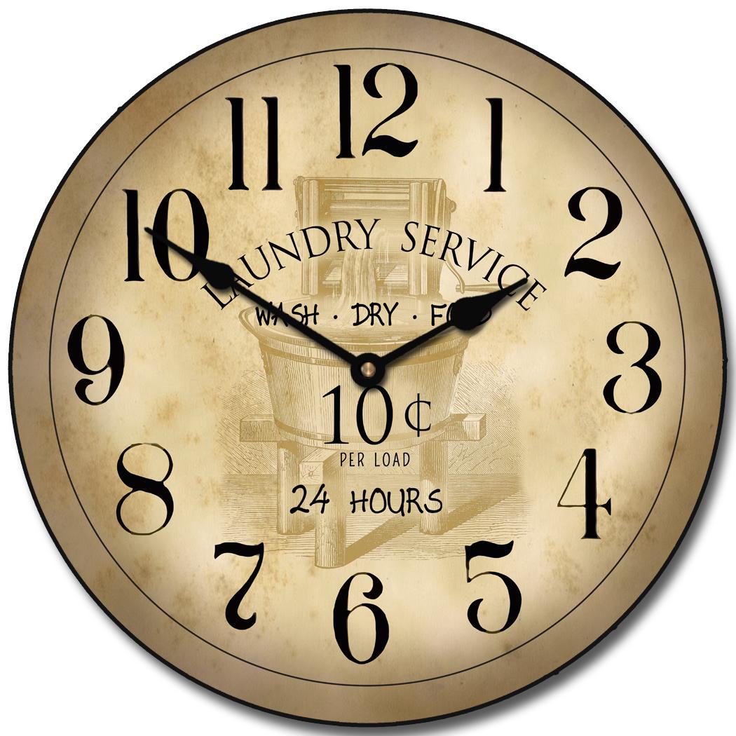 nice design quiet wall clock. Vintage Laundry Room Clock  room clock