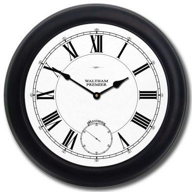 Waltham White Clock blk frm