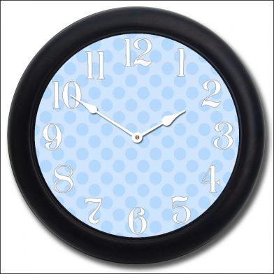 Blue Polka Dot Clock blk frm