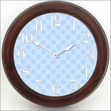 Blue Polka Dot Clock brn frm