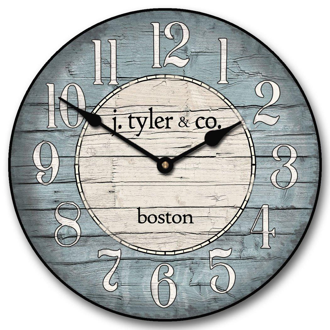 Vintage nautical clock nautical wall clock boston harbor blue clock amipublicfo Choice Image