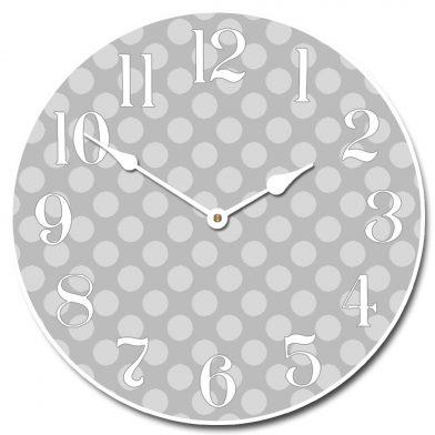 Gray Polka Dot Clock
