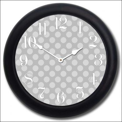 Gray Polka Dot Clock blk frm