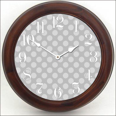 Gray Polka Dot Clock brn frm