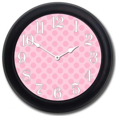 Pink Polka Dot Clock blk frm