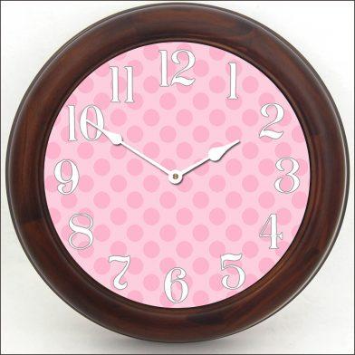 Pink Polka Dot Clock brn frm
