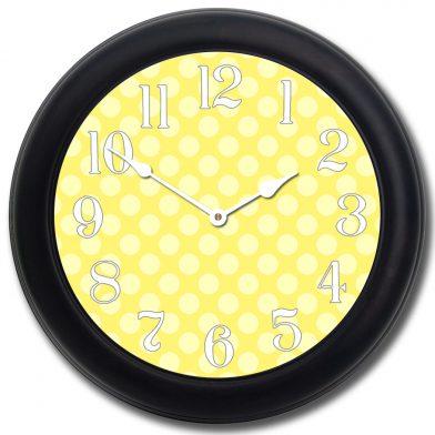 Yellow Polka Dot Clock blk frm