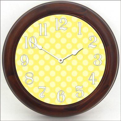 Yellow Polka Dot Clock brn frm