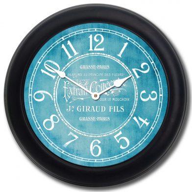 Vintage Parfum Teal Clock blk frm