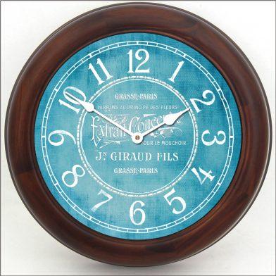 Vintage Parfum Teal Clock brn frm