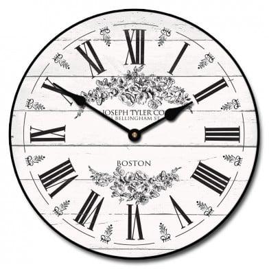 Barnwood Floral White Clock