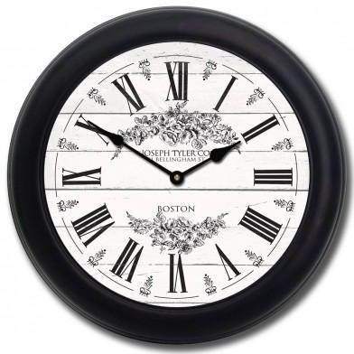 Barnwood Floral White Clock blk frm