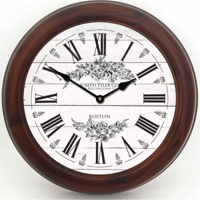 Barnwood Floral White Clock brn frm