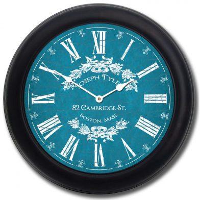 Charmant Blue Clock blk frm