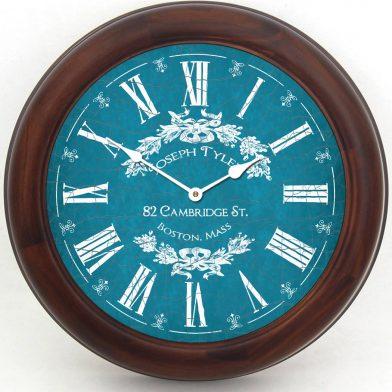 Charmant Blue Clock brn frm
